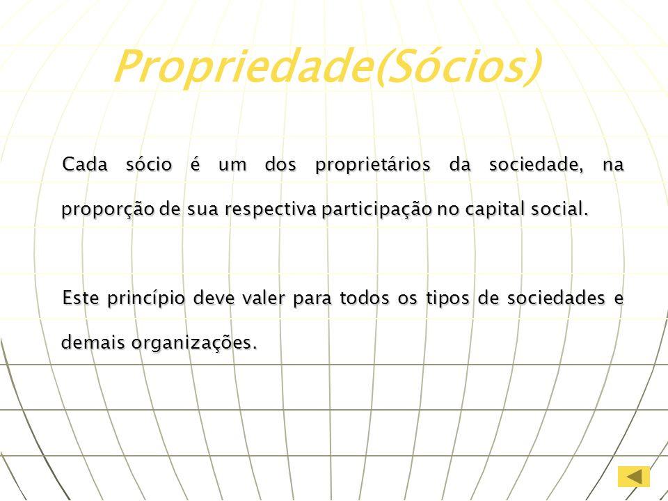 Propriedade(Sócios)Cada sócio é um dos proprietários da sociedade, na proporção de sua respectiva participação no capital social.