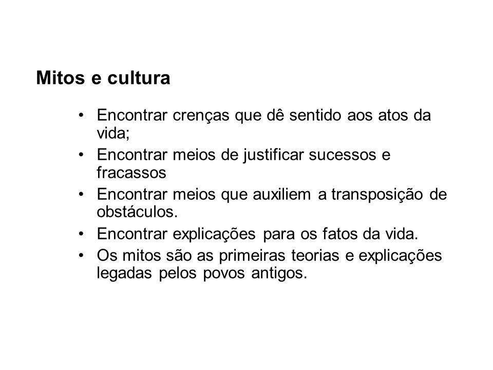Mitos e cultura Encontrar crenças que dê sentido aos atos da vida;