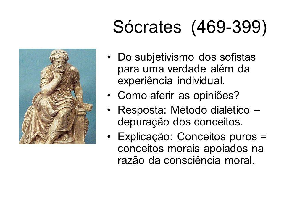 Sócrates (469-399) Do subjetivismo dos sofistas para uma verdade além da experiência individual. Como aferir as opiniões