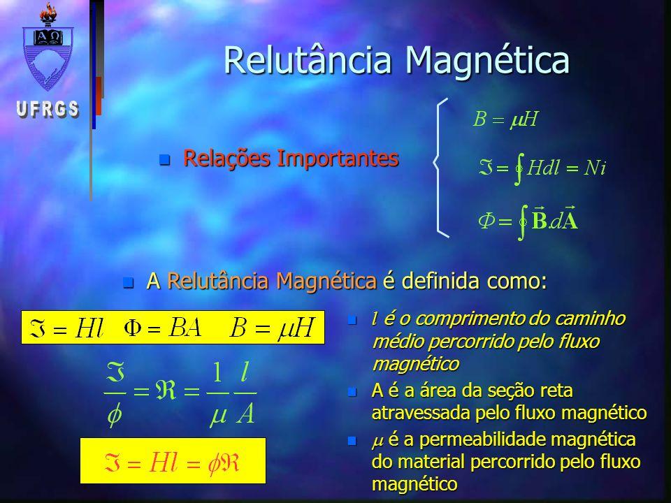 Relutância Magnética Relações Importantes