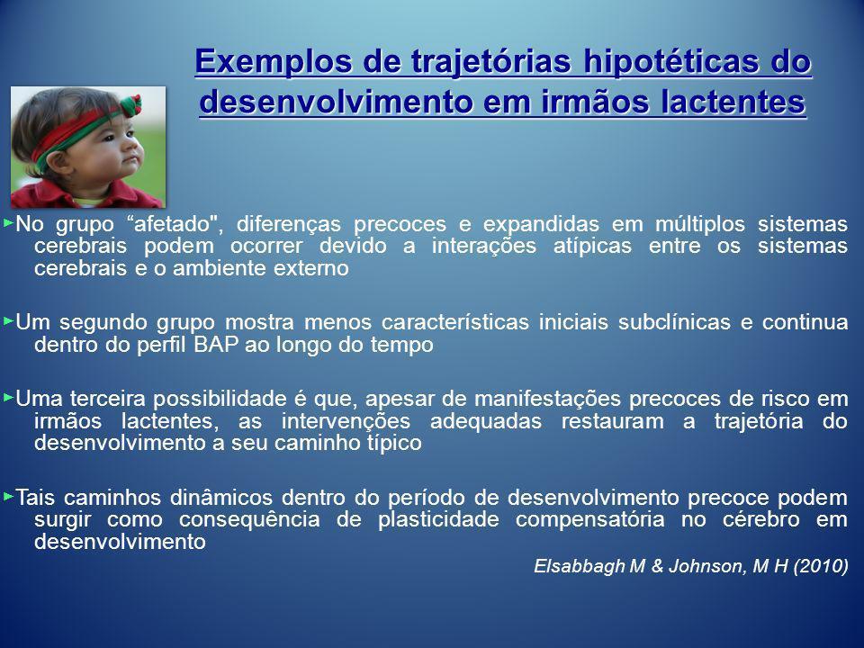 Exemplos de trajetórias hipotéticas do desenvolvimento em irmãos lactentes