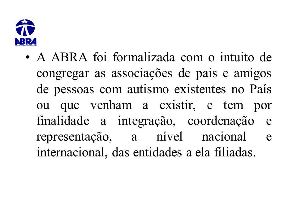A ABRA foi formalizada com o intuito de congregar as associações de pais e amigos de pessoas com autismo existentes no País ou que venham a existir, e tem por finalidade a integração, coordenação e representação, a nível nacional e internacional, das entidades a ela filiadas.