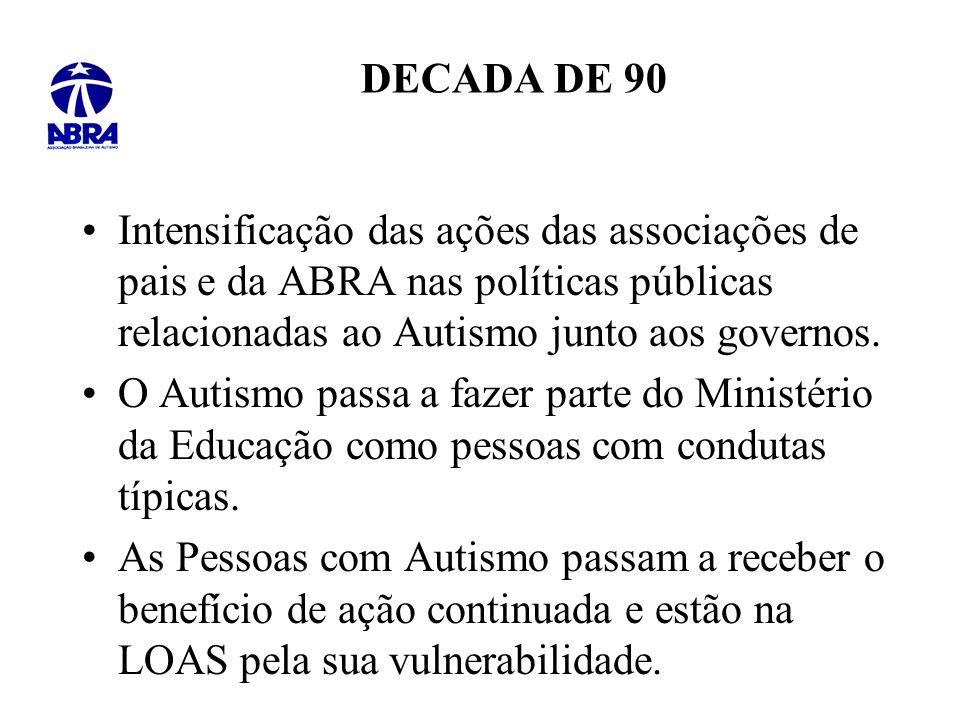 DECADA DE 90 Intensificação das ações das associações de pais e da ABRA nas políticas públicas relacionadas ao Autismo junto aos governos.