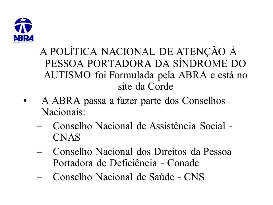 A POLÍTICA NACIONAL DE ATENÇÃO À PESSOA PORTADORA DA SÍNDROME DO AUTISMO foi Formulada pela ABRA e está no site da Corde