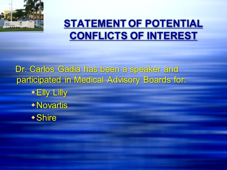 STATEMENT OF POTENTIAL CONFLICTS OF INTEREST