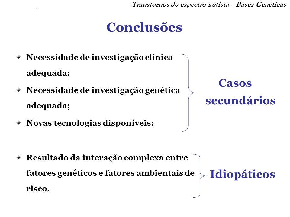 Conclusões Casos secundários Idiopáticos
