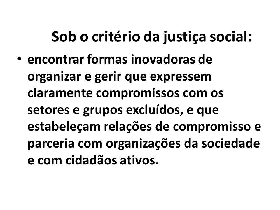 Sob o critério da justiça social: