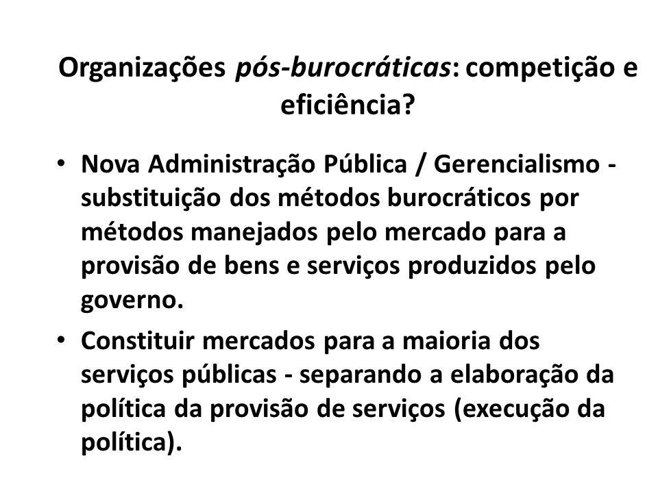 Organizações pós-burocráticas: competição e eficiência