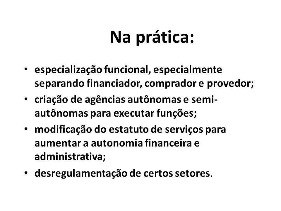 Na prática: especialização funcional, especialmente separando financiador, comprador e provedor;
