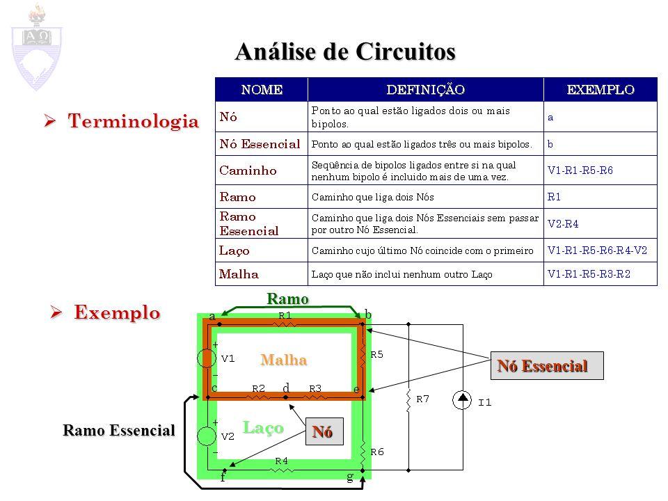 Análise de Circuitos Terminologia Exemplo Ramo Nó Essencial Laço