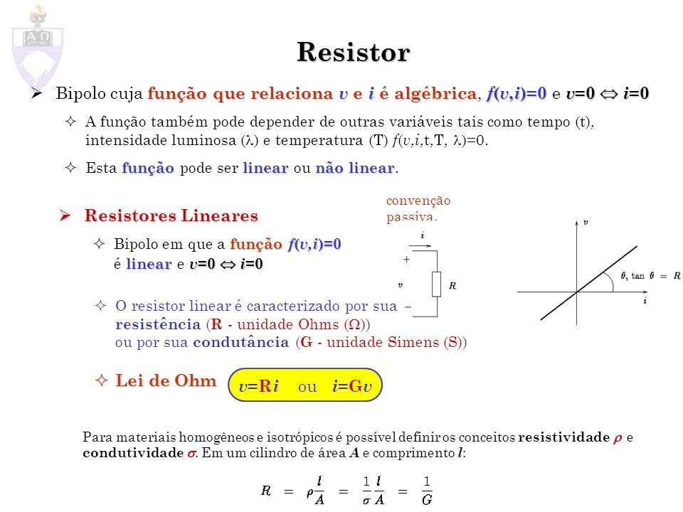 Resistor Bipolo cuja função que relaciona v e i é algébrica, f(v,i)=0 e v=0  i=0.