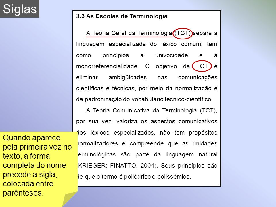 Siglas 3.3 As Escolas de Terminologia.