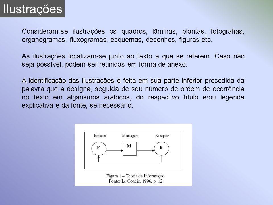 Ilustrações Consideram-se ilustrações os quadros, lâminas, plantas, fotografias, organogramas, fluxogramas, esquemas, desenhos, figuras etc.