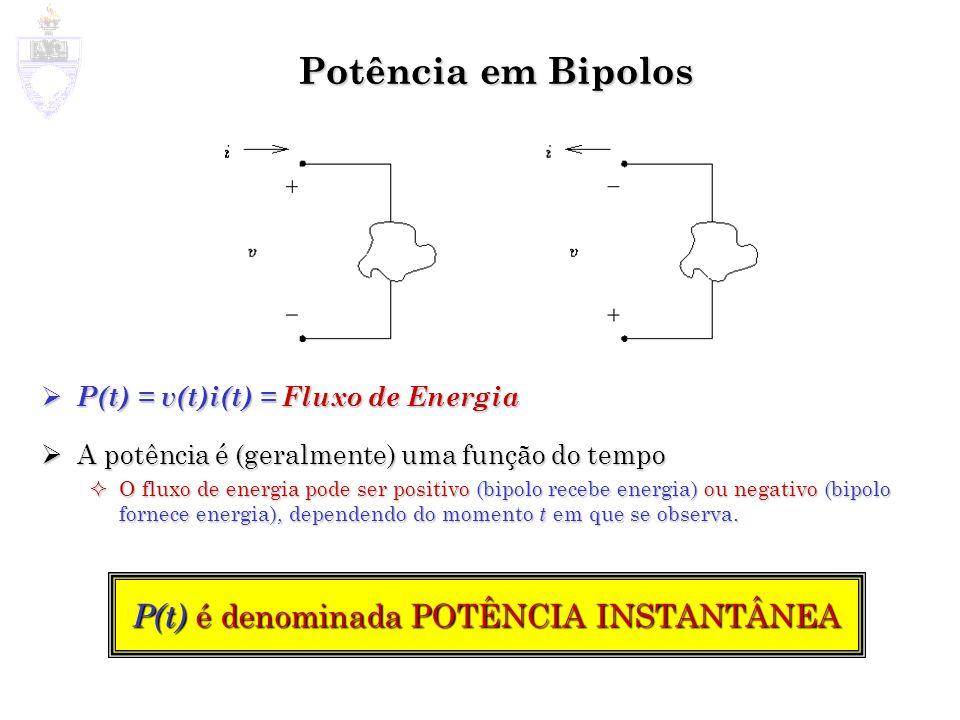 Potência em Bipolos P(t) é denominada POTÊNCIA INSTANTÂNEA