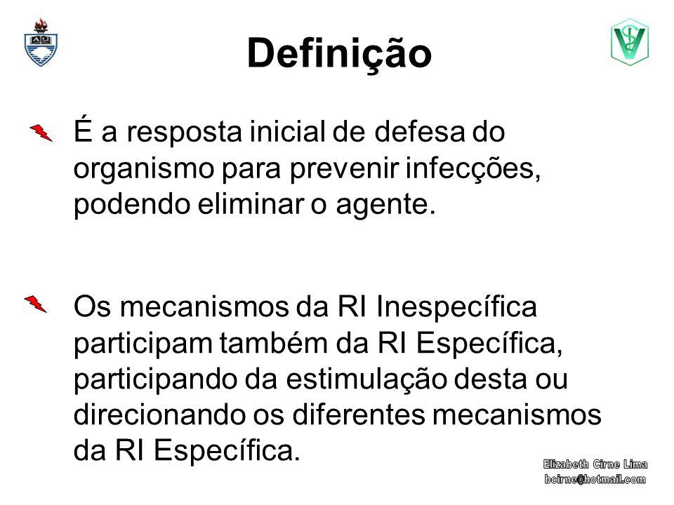 Definição É a resposta inicial de defesa do organismo para prevenir infecções, podendo eliminar o agente.