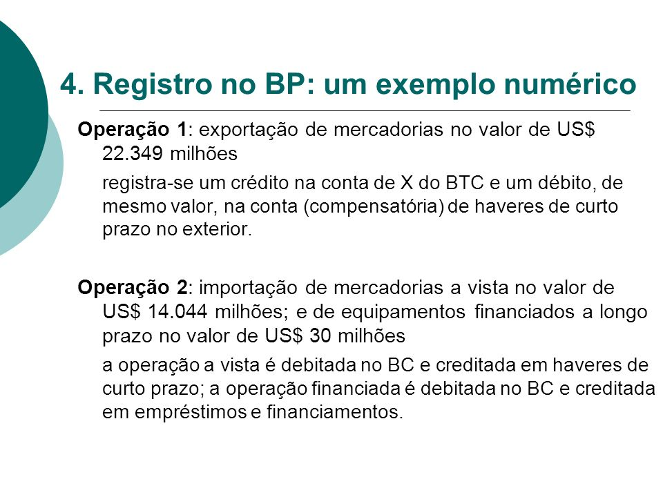 4. Registro no BP: um exemplo numérico