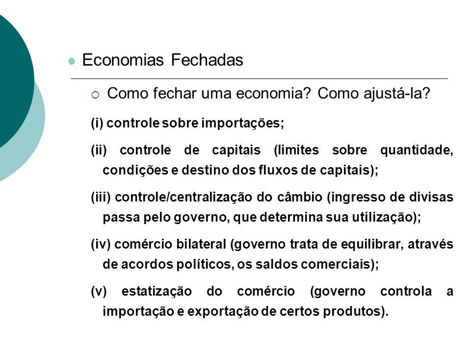 Economias Fechadas Como fechar uma economia Como ajustá-la