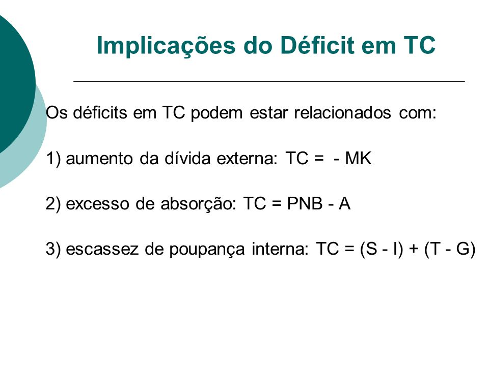 Implicações do Déficit em TC