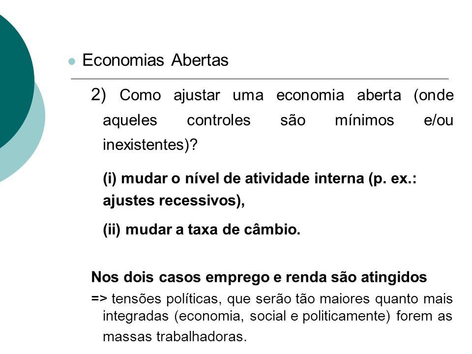 Economias Abertas 2) Como ajustar uma economia aberta (onde aqueles controles são mínimos e/ou inexistentes)