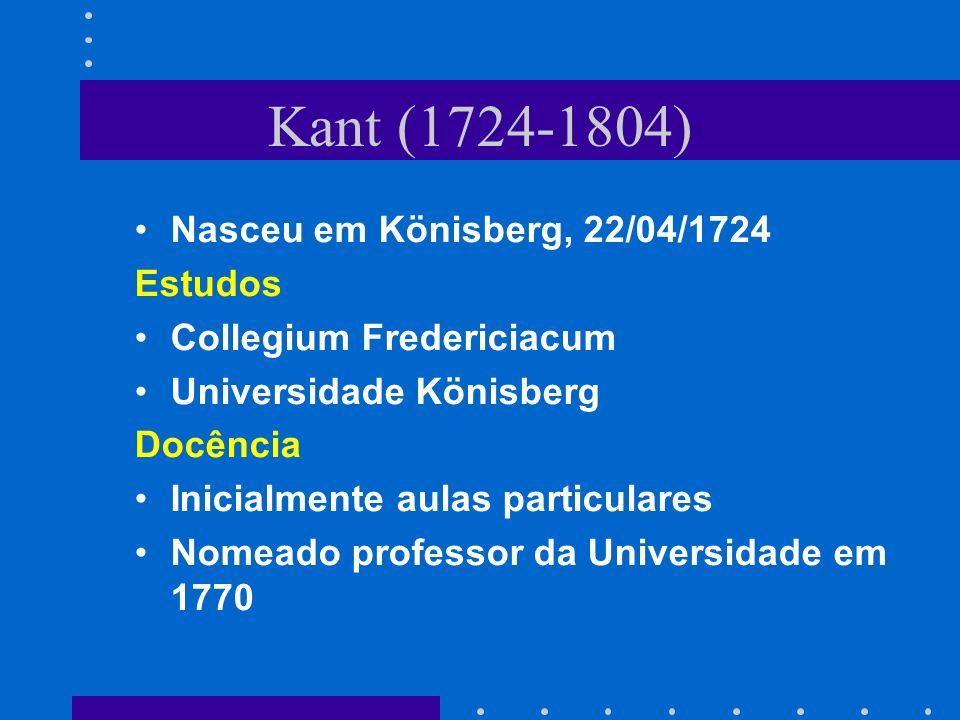 Kant (1724-1804) Nasceu em Könisberg, 22/04/1724 Estudos
