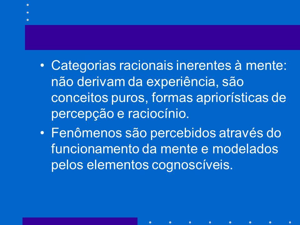 Categorias racionais inerentes à mente: não derivam da experiência, são conceitos puros, formas apriorísticas de percepção e raciocínio.