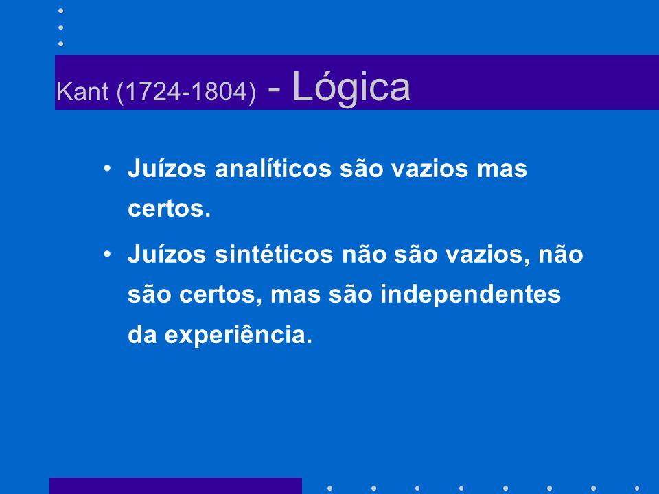 Kant (1724-1804) - Lógica Juízos analíticos são vazios mas certos.