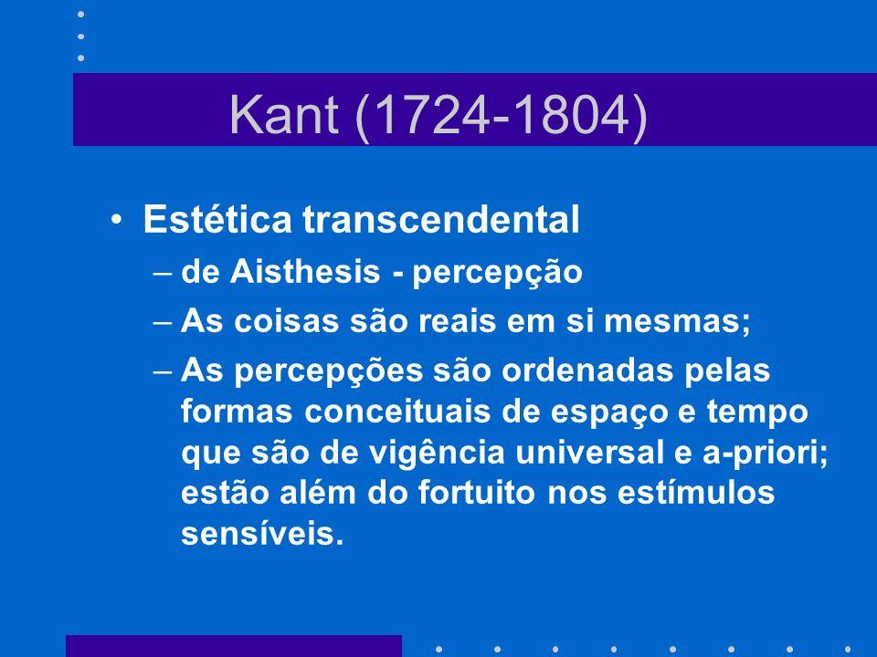 Kant (1724-1804) Estética transcendental de Aisthesis - percepção