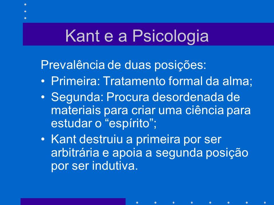Kant e a Psicologia Prevalência de duas posições: