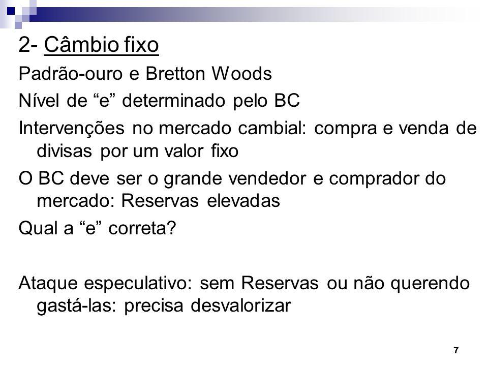 2- Câmbio fixo Padrão-ouro e Bretton Woods