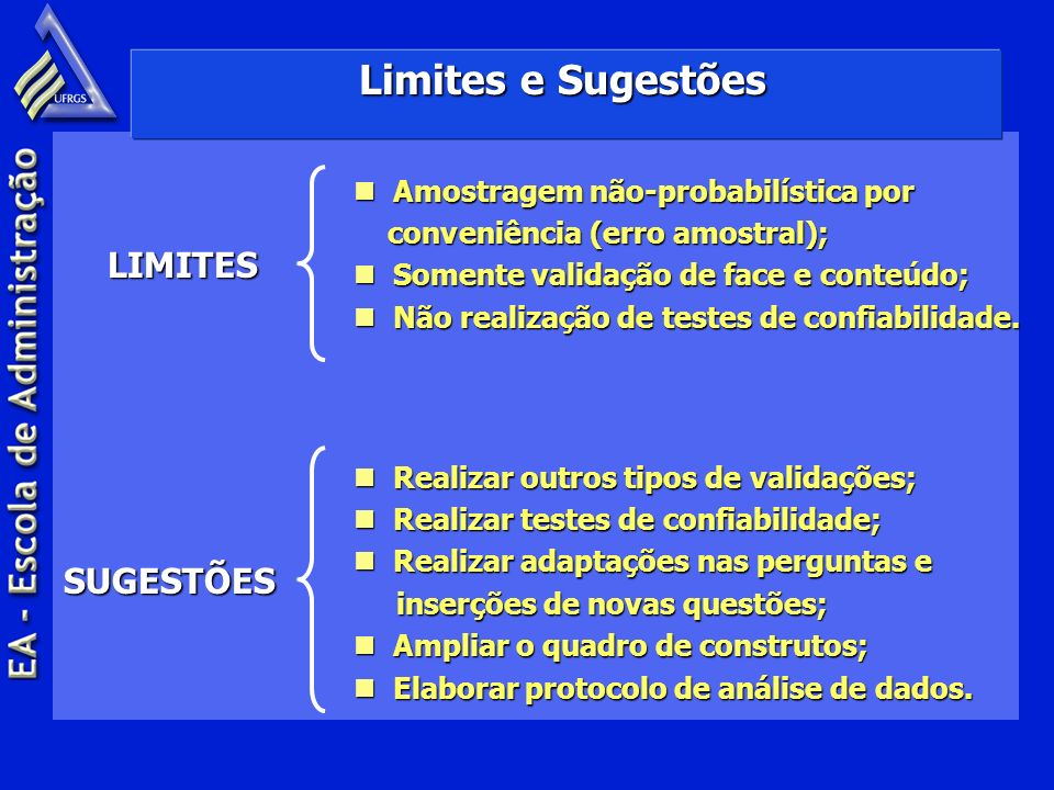 Limites e Sugestões LIMITES SUGESTÕES