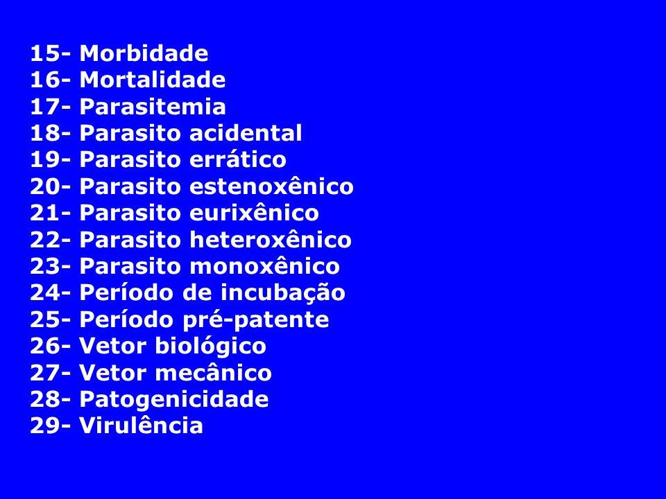 15- Morbidade16- Mortalidade. 17- Parasitemia. 18- Parasito acidental. 19- Parasito errático. 20- Parasito estenoxênico.