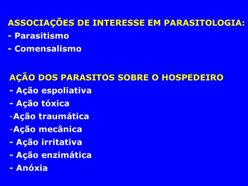 ASSOCIAÇÕES DE INTERESSE EM PARASITOLOGIA: