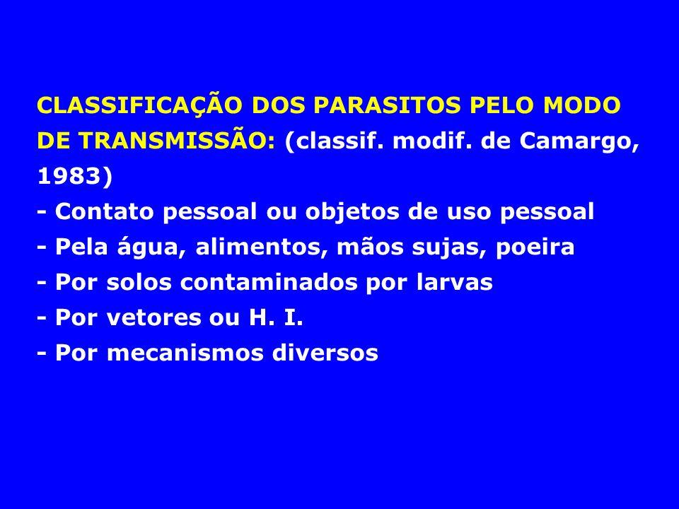 CLASSIFICAÇÃO DOS PARASITOS PELO MODO DE TRANSMISSÃO: (classif. modif