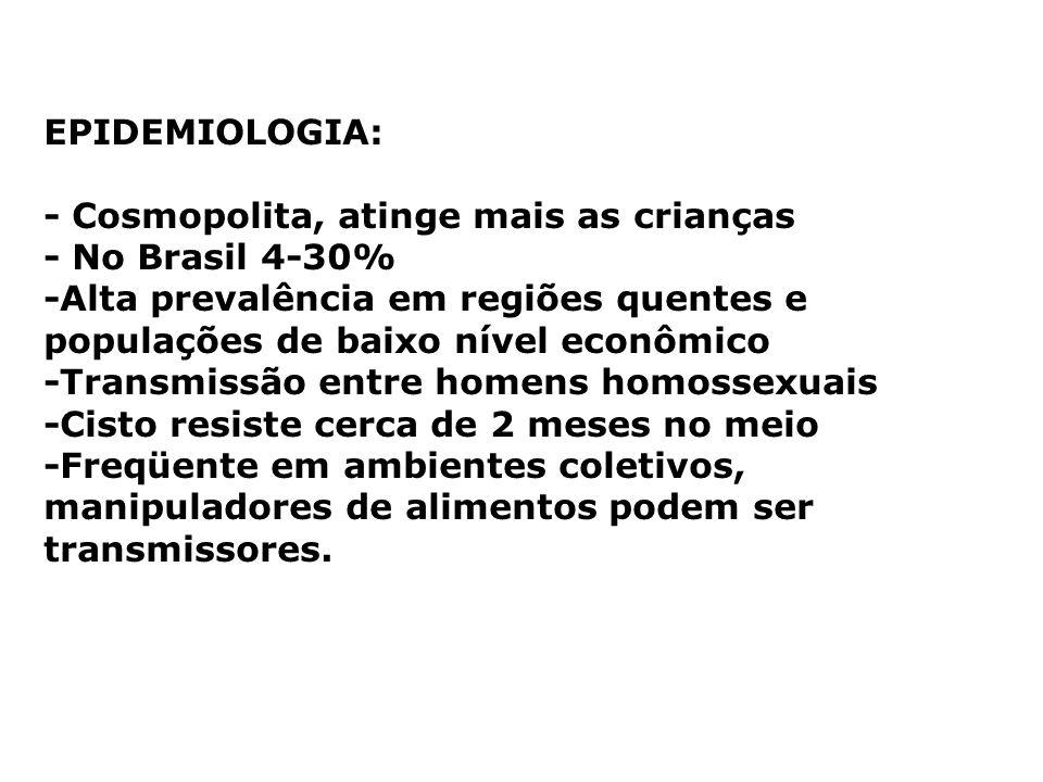 EPIDEMIOLOGIA: - Cosmopolita, atinge mais as crianças. - No Brasil 4-30% -Alta prevalência em regiões quentes e populações de baixo nível econômico.