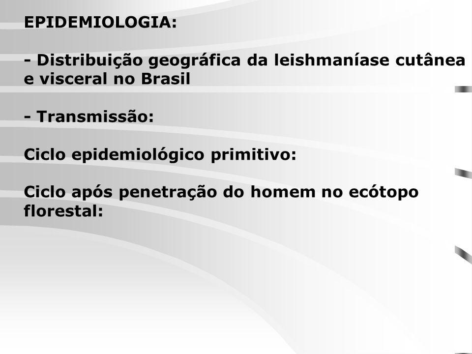 EPIDEMIOLOGIA: - Distribuição geográfica da leishmaníase cutânea e visceral no Brasil. - Transmissão:
