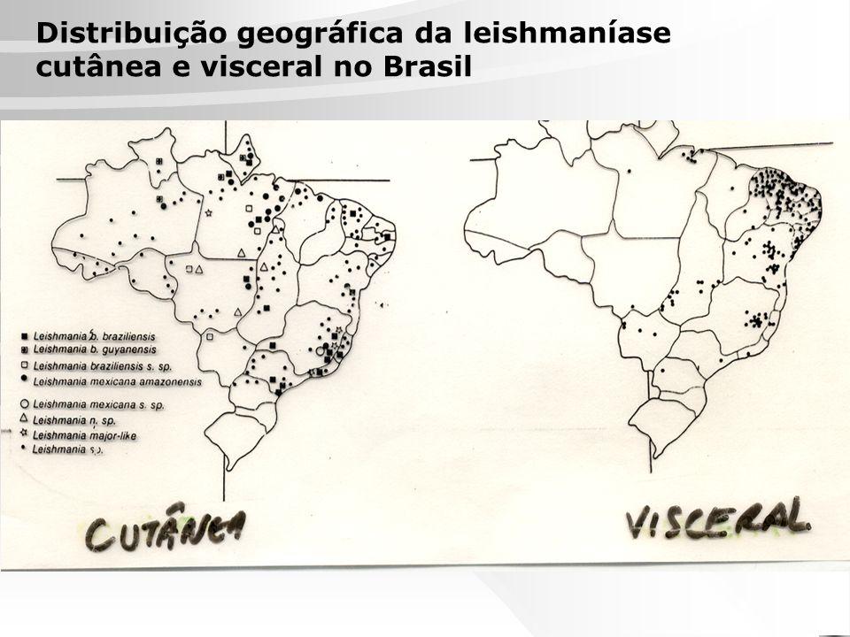 Distribuição geográfica da leishmaníase cutânea e visceral no Brasil