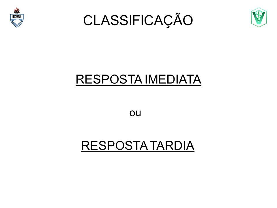 CLASSIFICAÇÃO RESPOSTA IMEDIATA ou RESPOSTA TARDIA