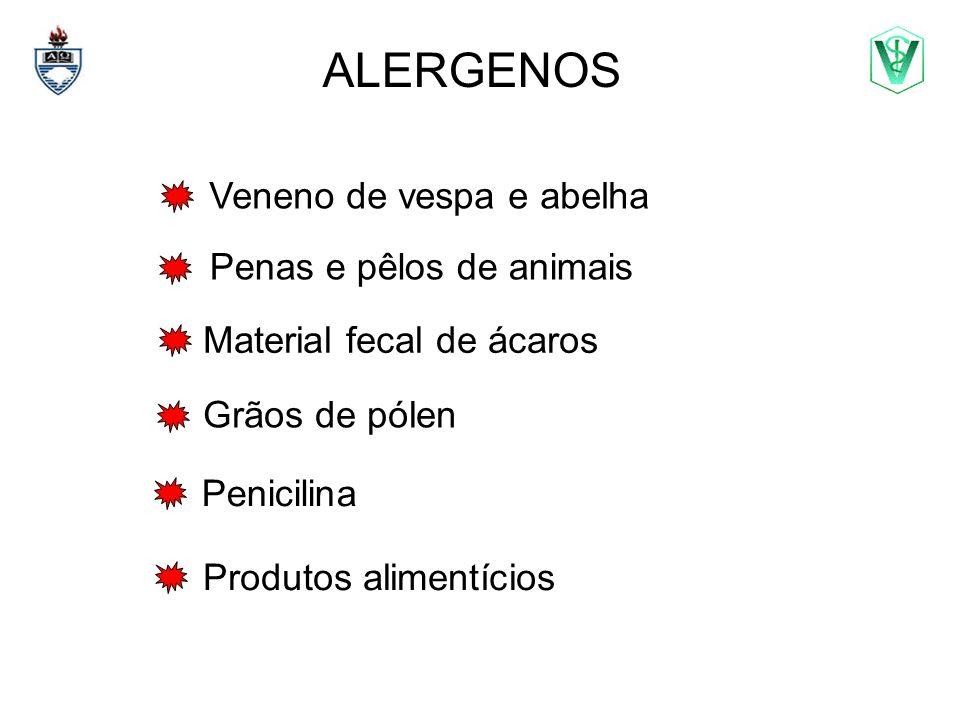 ALERGENOS Veneno de vespa e abelha Penas e pêlos de animais