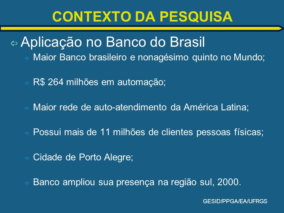 Aplicação no Banco do Brasil