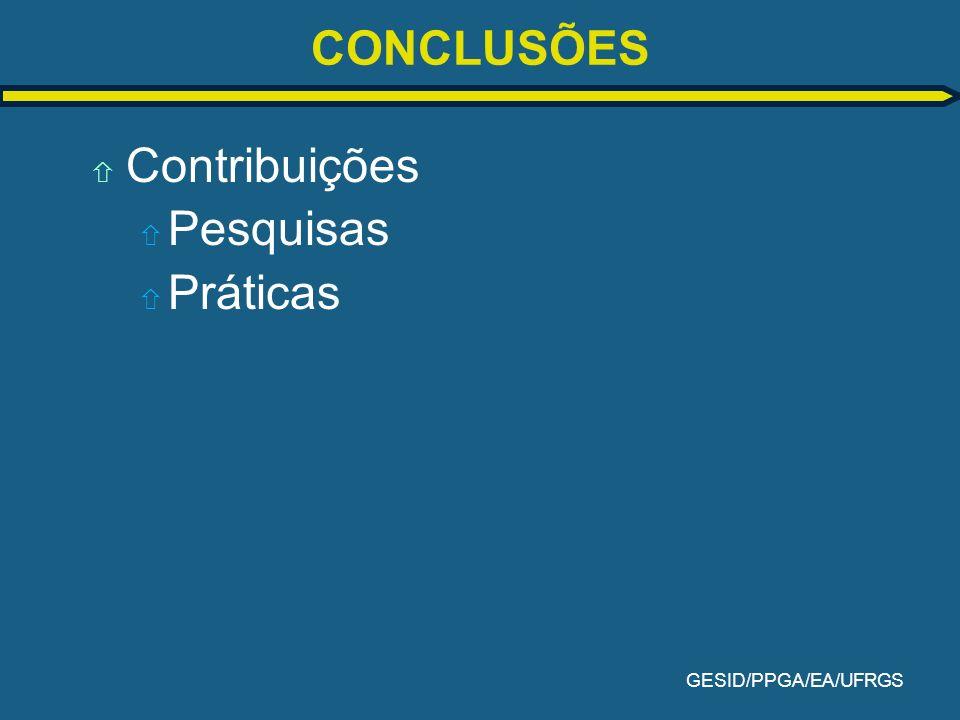CONCLUSÕES Contribuições Pesquisas Práticas