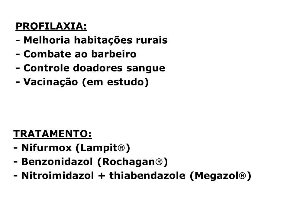 PROFILAXIA: - Melhoria habitações rurais. - Combate ao barbeiro. - Controle doadores sangue. - Vacinação (em estudo)