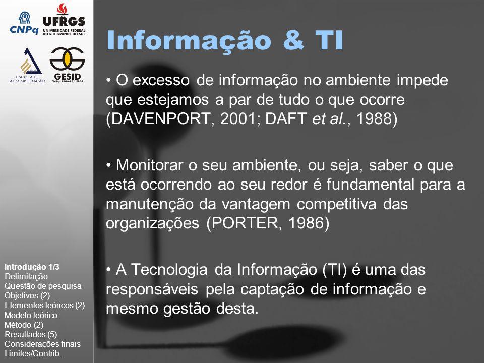 Informação & TI O excesso de informação no ambiente impede que estejamos a par de tudo o que ocorre (DAVENPORT, 2001; DAFT et al., 1988)