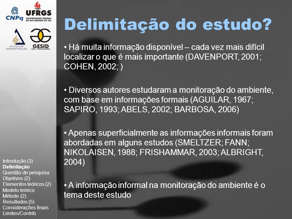 Delimitação do estudo Há muita informação disponível – cada vez mais difícil localizar o que é mais importante (DAVENPORT, 2001; COHEN, 2002; )