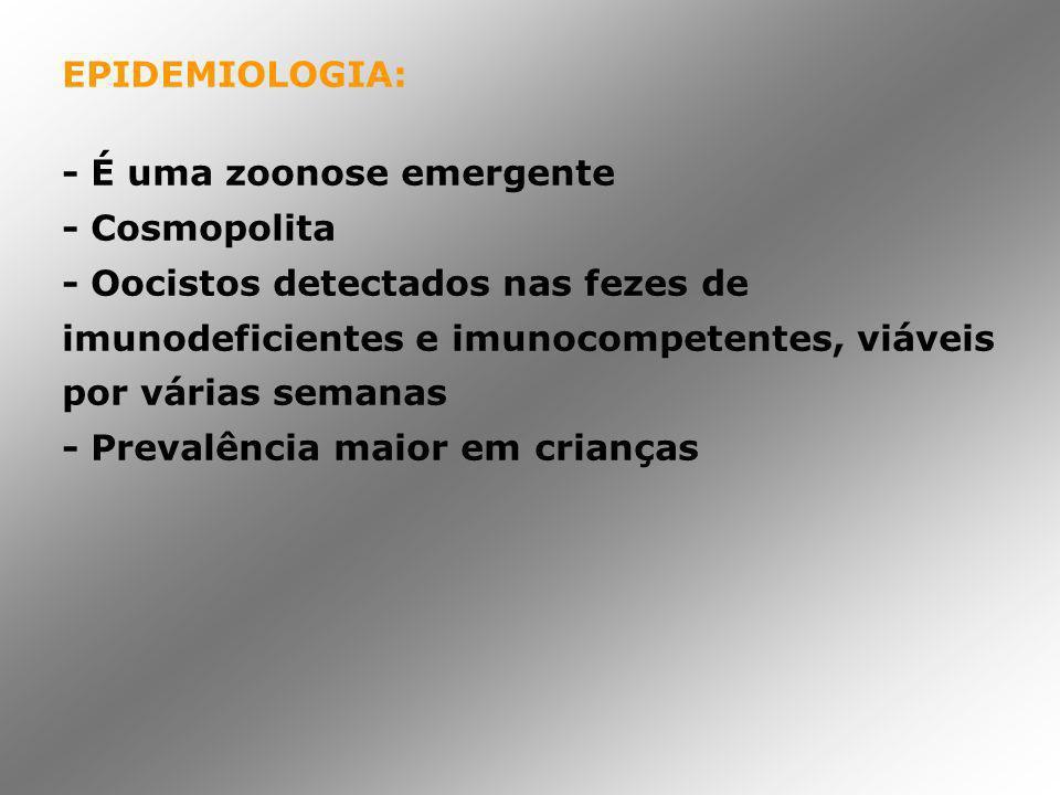 EPIDEMIOLOGIA: - É uma zoonose emergente. - Cosmopolita.