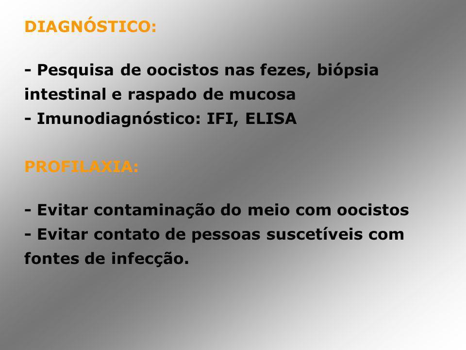 DIAGNÓSTICO: - Pesquisa de oocistos nas fezes, biópsia intestinal e raspado de mucosa. - Imunodiagnóstico: IFI, ELISA.