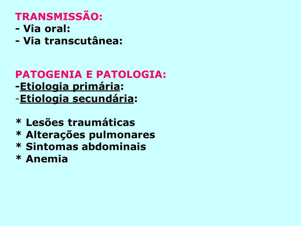 TRANSMISSÃO: - Via oral: - Via transcutânea: PATOGENIA E PATOLOGIA: -Etiologia primária: Etiologia secundária: