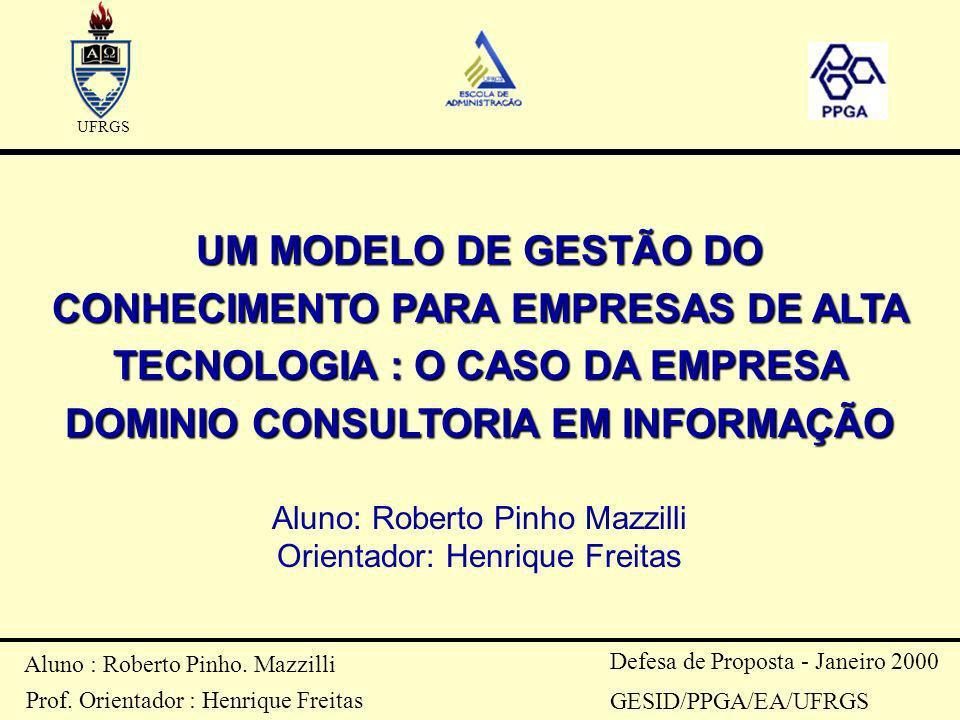 UFRGS UM MODELO DE GESTÃO DO CONHECIMENTO PARA EMPRESAS DE ALTA TECNOLOGIA : O CASO DA EMPRESA DOMINIO CONSULTORIA EM INFORMAÇÃO.