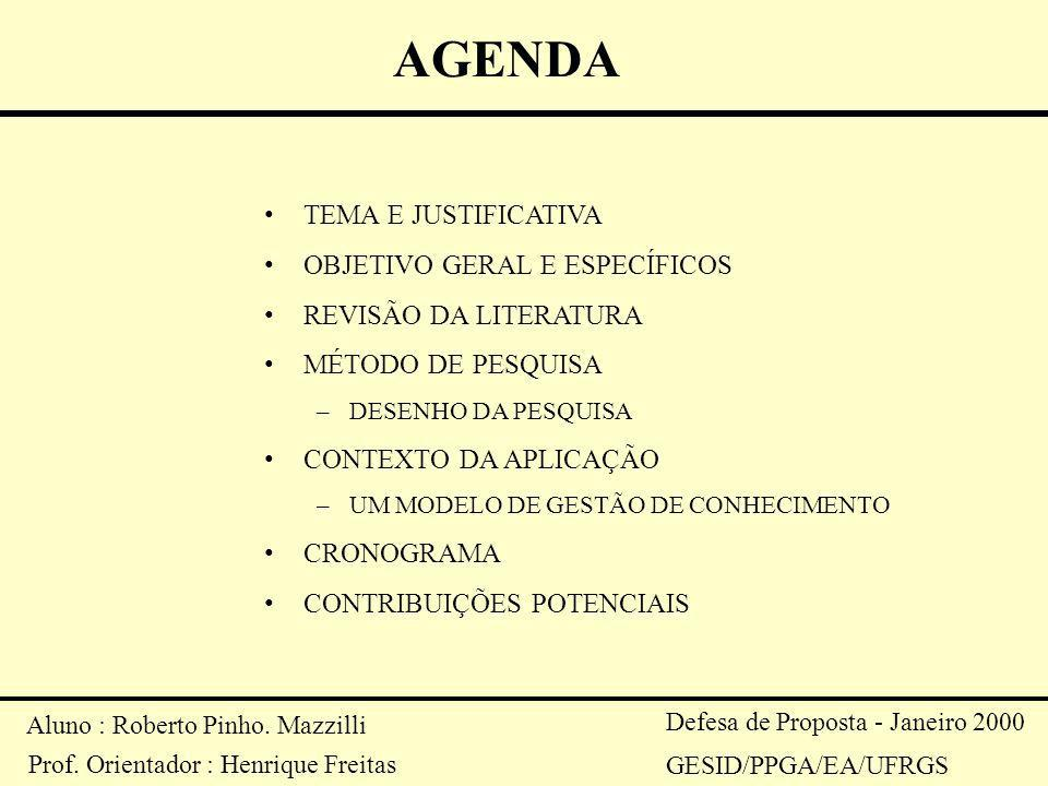 AGENDA TEMA E JUSTIFICATIVA OBJETIVO GERAL E ESPECÍFICOS