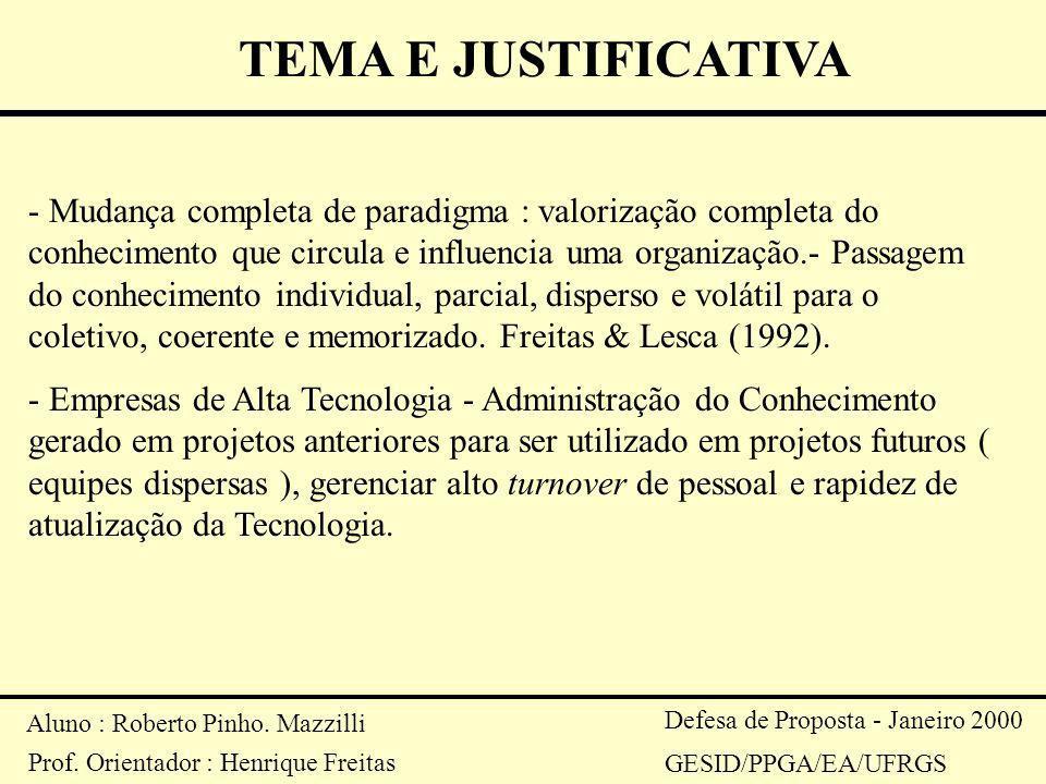 TEMA E JUSTIFICATIVA