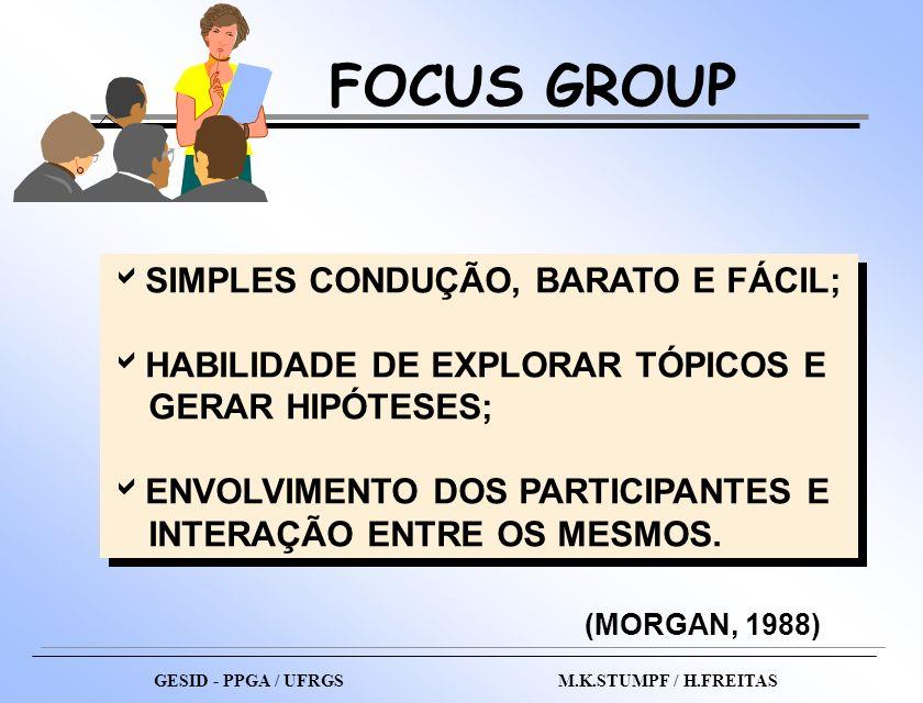 FOCUS GROUP SIMPLES CONDUÇÃO, BARATO E FÁCIL;